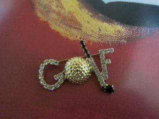 Swarovski Rhinestones Golf Brooch Pin
