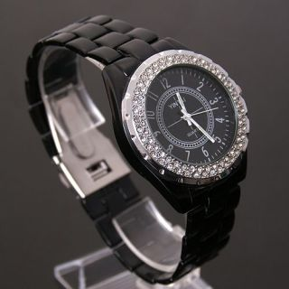 Bling Crystal Black Dial Stainless Steel Army Sport Wrist Watch