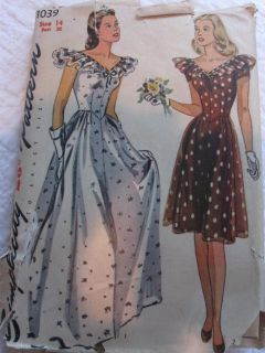 Vintage 1940s Simplicity Pattern 1039 Ball Gown Dress