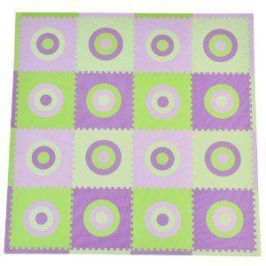 Tadpoles Purple and Lime Green 16 Piece Interlocking Play Mat