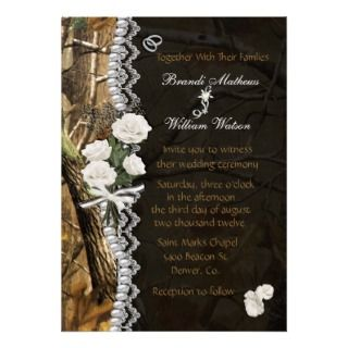 White Roses & Camo Invitation