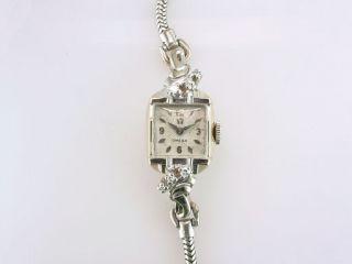 Vintage Deco Genuine Diamond Omega 17 Jewels White Gold Ladies Wrist