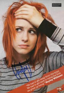 Paramore Hayley Williams 1 Signed Promo Poster