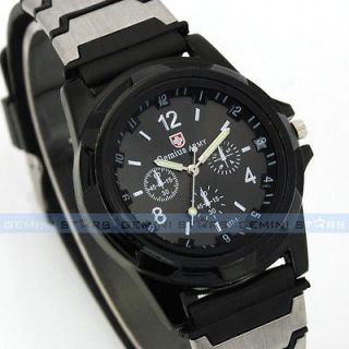 Black Dial Convex Numbers Gemius Army Warrior Hiking Men Sports Watch