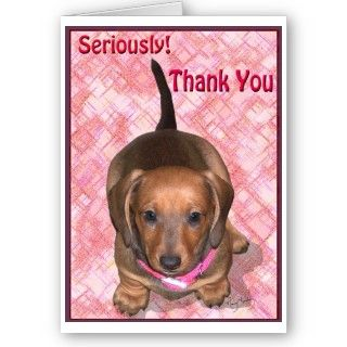 Thank You A little Dachshund Puppy Greeting Card