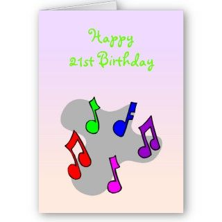 21st birthday card with music notes. Design by justbyjulie.