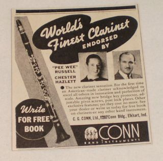 small 1939 Conn Clarinet ad ~ PEE WEE RUSSELL,CHESTER HAZLETT