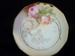 HAND PAINTED PLATE w PINK AND YELLOW ROSES SIGNED F HAHN ROYAL