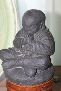 Buddist Buddha Monk Garden Statue caste LAVA STONE Asian Bali Yard Art