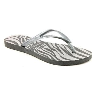 Havaianas Slim Animals Youth Kids Girls Size 2 Gray Flip Flops Sandals