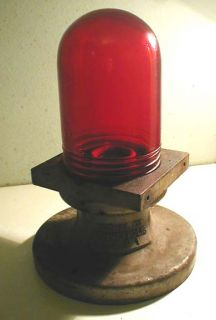 Griswold Signal Co. Red Glass Dome Warning Light Cast Iron Industrial