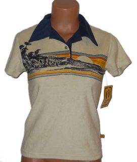 hang ten polo beach scene shirt top nwt small