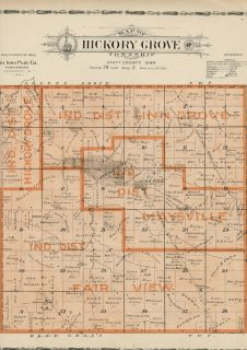 Hickory Grove Township; Scott County, Iowa Plat Map Showing Landowners
