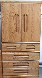 Oak Armoire Orman Grubb USA Slide Back Doors 5 Drawers Hidden Drawer