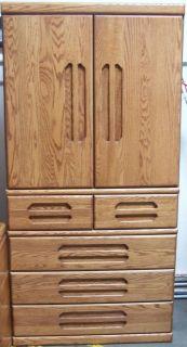 Oak Armoire Orman Grubb USA Slide Back Doors 5 Drawers Hidden Drawer