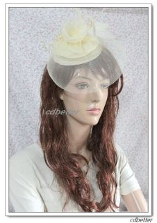 Beige Grace Feather Veil Millinery Fascinator Hair Clip Hat