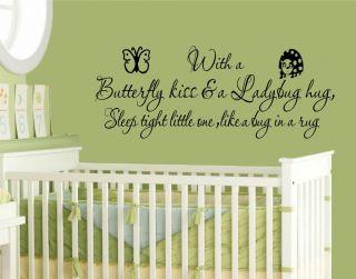 Butterfly Kiss & Ladybug Hug Kids Room Decor Wall Vinyl Decal Sticker