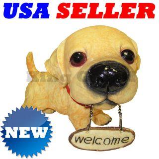new golden retriever big head puppy dog statue w sign