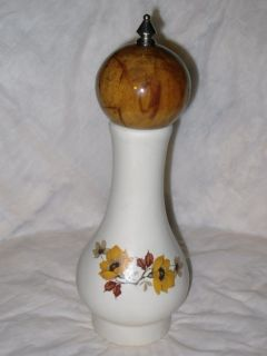 Vtg Chef Stoneware Ceramic Wood Floral Transferware Large Pepper Mill