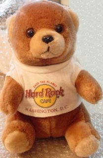 Hard Rock Cafe Washington DC Early 1990s Teddy Bear Wearing HRC Logo