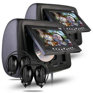 Dual 7 Digital Screen Car Headrest DVD Player 2x IR Headphones USB