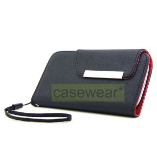 Black Red Flip Pouch Wallet Hard Cover Case for Samsung Galaxy s 3 III
