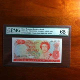 New Zealand $5 Hardie PMG 65EPQ Jaa Serial Bird Note