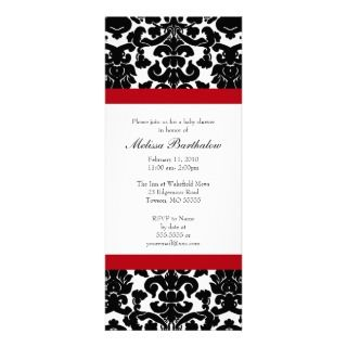 Black and Red Damask Baby Shower Invites