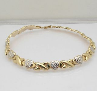 Hearts Kisses Anklet Bracelet 14k Yellow White Gold