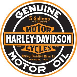 New Harley Davidson Genuine Motor Oil Round 14 Tin Sign / Embossed