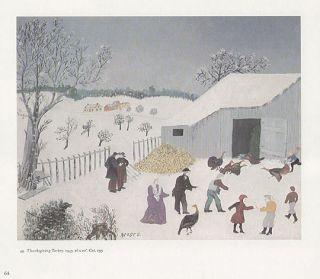Grandma Moses Print Snowy Barnyard Thanksgiving Turkey