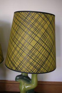 Pair Heifetz Mid Century Modern Biomorphic Ceramic Table Lamps