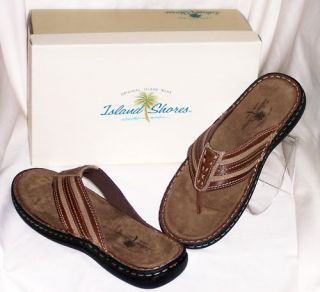JCP Mens Thong Slippers Shoe Cozumel Brown 8M D