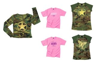 Womens Military Graphic Design Printed Tee Army T Shirt