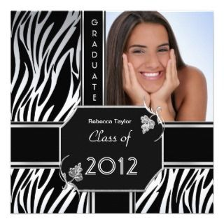 Graduation Party Grad Black White Zebra Animal Invitation