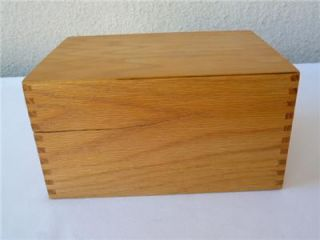 Vintage Wooden File Box Large Dovetailed Oak Recipe Drawer Library