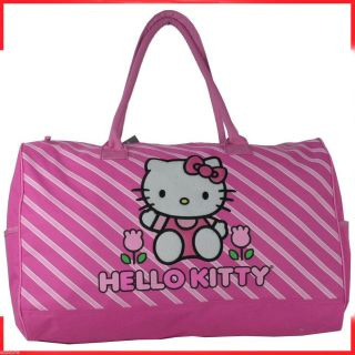 Sanrio Hello Kitty Pink Flower Travel Large DUFFLE Bag Tote HandBag