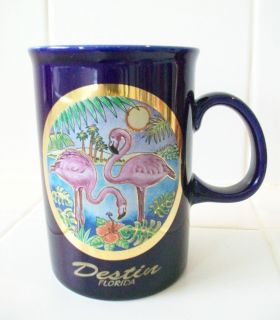 Cobalt Blue Coffee mug Destin Florida the Art of Chokin flamingos gold