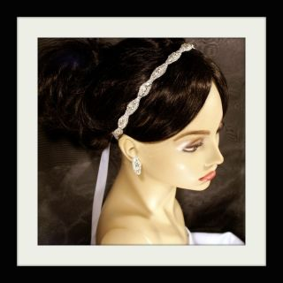 Bridal Headband IVORY white Ribbon Rhinestone Crystal Best Seller