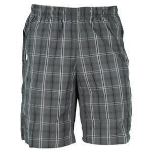 New Nike Mens Net Plaid Tennis Shorts Gray Black XL