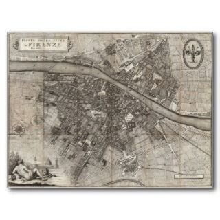 1847 Molini Pocket Map of Florence Italy Post Cards
