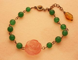 Inca Rose Green Mano Bracelet Antique Style Handmade