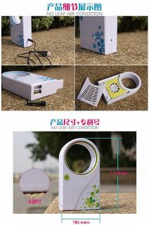 Mini Portable Bladeless Fan Cool Air Conditioning Fan with USB Cable