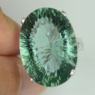 Green Amethyst Sterling Silver 925 Ring Size 6 25 US M UK