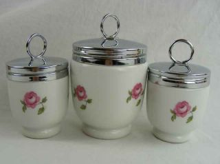 Royal Worcester Porcelain Egg Coddlers Set of 3  Bournemouth