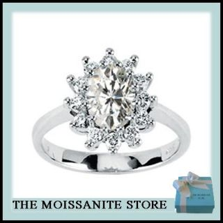 80 Ct Moissanite Oval Halo Engagement Ring