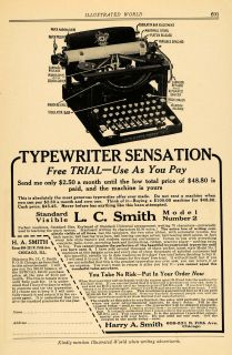 1916 Ad Harry A Smith L C Model Number 2 Typewriters Original