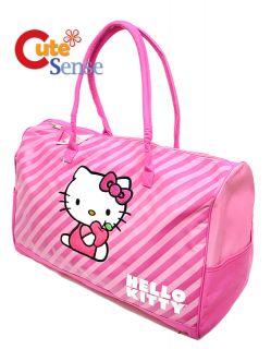 Sanrio Hello Kitty Duffle Bag Travel Gym Bag 20 Large Pink Stripe