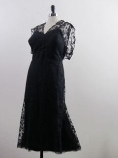 HENRY A LA PENSEE Vinage 40s 50s French Couure Dress Designer Black