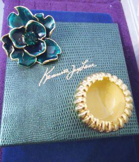 NIB KENNETH J LANE COUTURE GREEN Enamel Flower Pin Trinket Box Set 250